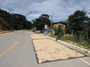 Die Strassen dienen auch zum Kaffee trocknen