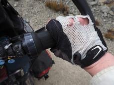 Die Handschuhe habe auch schon bessere Zeiten gesehen