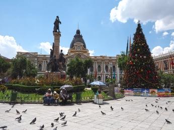 Die weihnachtliche Plaza Murillo