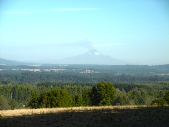 Der Villarica stösst eine Aschewolke aus