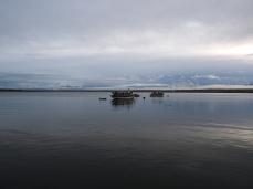 Einsame Boot im Golfo Almirante Montt