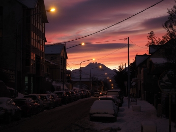 In den morgendlichen Straßen von Ushuaia