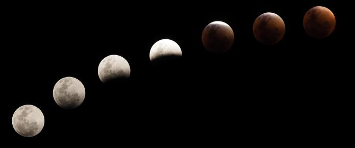 Einige Stadien der totalen Mondfinsternis