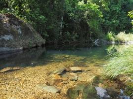 Eine erste Badegelegenheit im Rio São Miguel