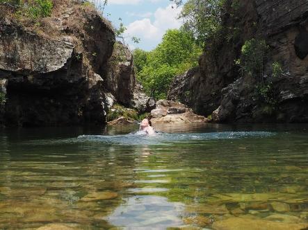 Dann folgt das verdiente Bad im Poço Esmeralda