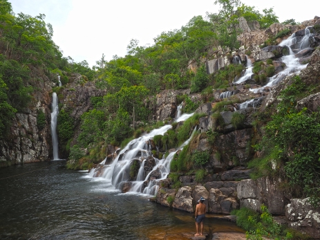 Der erste Anblick der Cachoeira Capivara inklusive zögerlichem Schnorchler